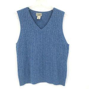 L.L. Bean Sweater Vest Blue V Neck Cable Knit M